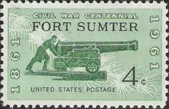 Green 4-cent U.S. postage stamp picturing soldier and cannon
