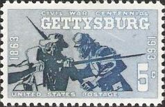 Gray and blue 5-cent U.S. postage stamp picturing soldiers fighting