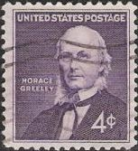 Purple 4-cent U.S. postage stamp picturing Horace Greeley