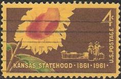 4-cent U.S. postage stamp picturing sunflower