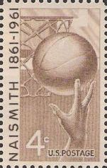 Brown 4-cent U.S. postage stamp picturing hand, basketball, and hoop