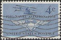 Blue 4-cent U.S. postage stamp picturing biplane and wings