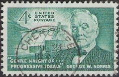 Green 4-cent U.S. postage stamp picturing dam and George Norris