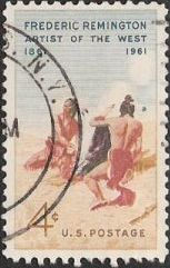 4-cent U.S. postage stamp picturing Native Americans by fire