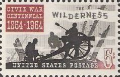 Maroon and black 5-cent U.S. postage stamp picturing soldiers and cannon