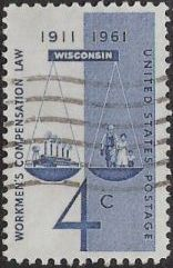 Blue 4-cent U.S. postage stamp picturing scales