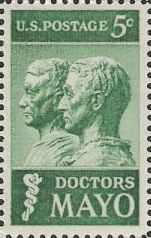 Green 5-cent U.S. postage stamp picturing busts of William and Charles Mayo