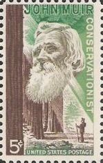 5-cent U.S. postage stamp picturing John Muir and forest