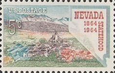 5-cent U.S. postage stamp picturing city and outline of Nevada