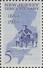 Blue 5-cent U.S. postage stamp picturing explorers and outline of New Jersey
