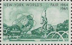 Green 5-cent U.S. postage stamp picturing scene from New York World's Fair