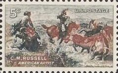 5-cent U.S. postage stamp picturing Charles Russell painting