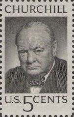 Black 5-cent U.S. postage stamp picturing Winston Churchill