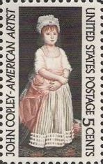 5-cent U.S. postage stamp picturing John Copley painting of girl