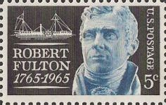Black and blue 5-cent U.S. postage stamp picturing Robert Fulton