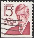 Maroon 15-cent U.S. postage stamp picturing Oliver Wendell Holmes