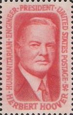 Red 5-cent U.S. postage stamp picturing Herbert Hoover