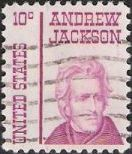 Red violet 10-cent U.S. postage stamp picturing Andrew Jackson