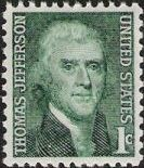Green 1-cent U.S. postage stamp picturing Thomas Jefferson