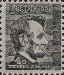 Black 4-cent U.S. postage stamp picturing Abraham Lincoln