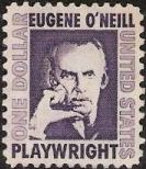 Purple $1 U.S. postage stamp picturing Eugene O'Neill