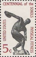 Black and maroon 5-cent U.S. postage stamp picturing statue of discus thrower