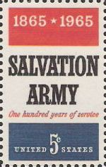 5-cent U.S. postage stamp bearing text 'Salvation Army:  one hundred years of service'