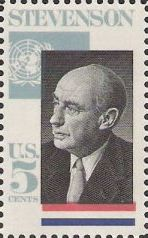 5-cent U.S. postage stamp picturing Adlai Stevenson and United Nations flag