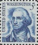 Blue 5-cent U.S. postage stamp picturing George Washington