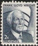 Blue gray 2-cent U.S. postage stamp picturing Frank Lloyd Wright