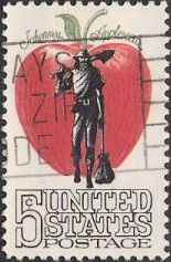 5-cent U.S. postage stamp picturing apple and Johnny Appleseed