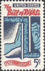 Blue and red 5-cent U.S. postage stamp picturing wall between hands