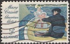 5-cent U.S. postage stamp picturing portion of Mary Cassatt painting picturing family in a rowboat