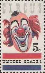 5-cent U.S. postage stamp picturing clown