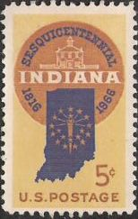 5-cent U.S. postage stamp picturing outline of Indiana