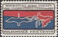 5-cnt U.S. postage stamp picturing U.S.-Canadian border and outlines of ducks