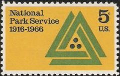 5-cent U.S. postage stamp picturing National Park Service emblem