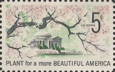 5-cent U.S. postage stamp picturing cherry blossoms and Jefferson Memorial
