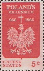 Red 5-cent U.S. postage stamp picturing Polish eagle