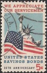 5-cent U.S. postage stamp picturing American flag and Statue of Liberty