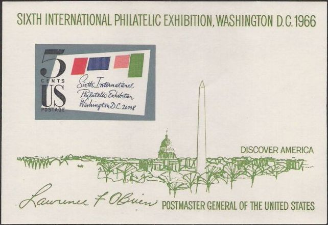 Souvenir sheet containing 5-cent U.S. postage stamp picturing stylized envelope