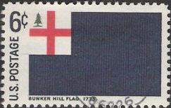 6-cent U.S. postage stamp picturing Bunker Hill flag