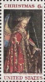 6-cent U.S. postage stamp picturing Van Eyck's Madonna and child painting