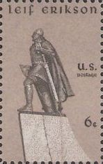 Gray 6-cent U.S. postage stamp picturing statue of Leif Erikson