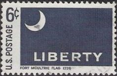 Blue 6-cent U.S. postage stamp picturing Fort Moultrie flag