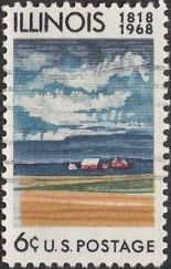6-cent U.S. postage stamp picturing fields and farm