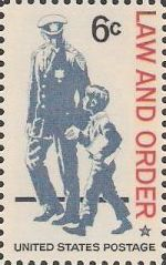 6-cent U.S. postage stamp picturing police officer and boy