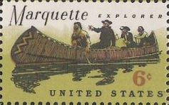6-cent U.S. postage stamp picturing Jacques Marquette and party in canoe