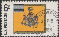 6-cent U.S. postage stamp picturing Philadelphia Light Horse flag