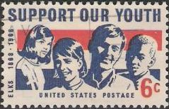 Blue and red 6-cent U.S. postage stamp picturing children